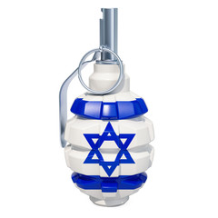 Grenade with Israeli flag, 3D rendering