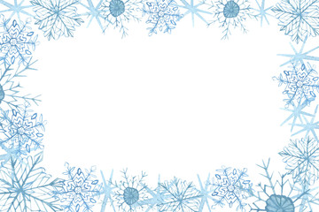Winter border with blue snowflakes on white background . Hand-painted horizontal illustration for Happy New Year and Merry Christmas border