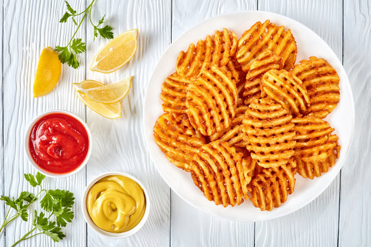 Crispy Potato Waffles Fries, top view