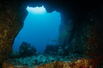 Fototapete - An underwater archway at Western Rocky in the Mergui Archipelago, Myanmar