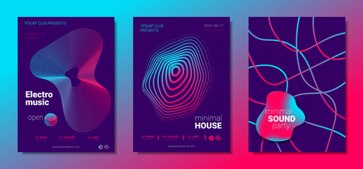 Music Posters Set witn Wave Lines and Distortion.