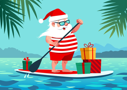 Cute Santa Claus on paddle board with gifts against tropical ocean background vector cartoon illustration. Christmas in July, summer, vacation, resort, warm climate theme for posters, greeting cards.