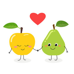Cute cartoon pear and apple