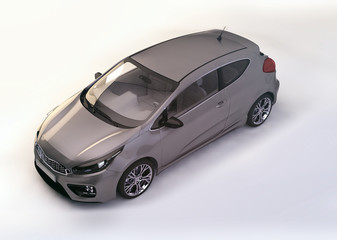 modern metallic gray city car - 3D rendering