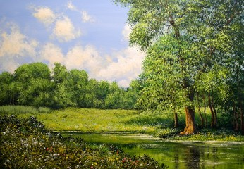 Oil paintings landscape. Fine art.