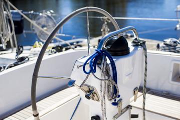 White yacht yacht handwheel and ropes close-up, Latvia