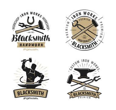 Blacksmith, forge logo or label. Blacksmithing, iron work symbol. Vector