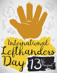 Painted Hand with Doodles to Celebrate International Left Handers Day, Vector Illustration