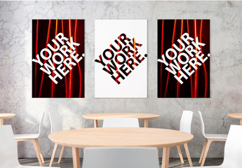 Three Posters on a Dining Room Wall Mockup