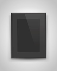 Realistic empty rectangular black frame with passepartout on gray background, dark border for your creative project, mock-up sample, picture on the wall, vector design object