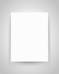 Realistic empty white sheet on gray background, blank for your creative project, mock-up sample, rectangular page on the wall, vector design object