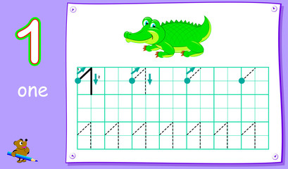 Educational page for young children with number one. Developing skills for writing and counting. Vector cartoon image.