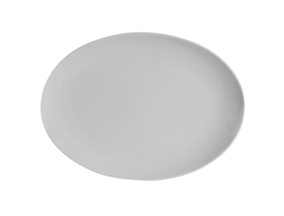top view empty white plate isolated on white background