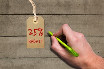 "Hangtag mit ""25% Rabatt"" Aufschrift"