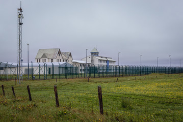 Buildings and fences of jail in Eyrarbakki, small village in southern Iceland