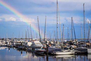 Rainbow over the Olhão Marina