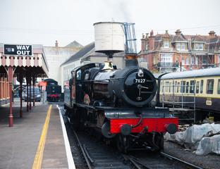 restored British steam locomotive 7827 'Lydham Manor', Paignton, Devon, England, United Kingdom, May 24, 2018