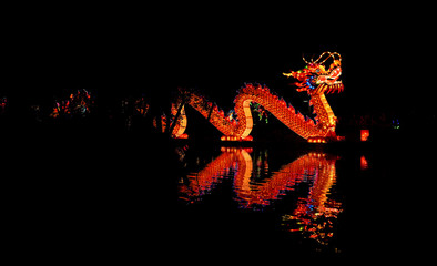 Illuminated Chinese dragon lantern