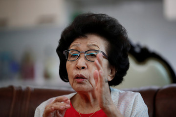 Kim Hyun-sook speaks during an interview with Reuters at her home in Seoul
