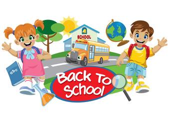 school bus and cute kids