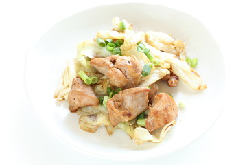 Chinese food, cabbage and chicken stir fried