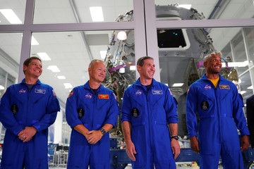 NASA Astronauts introduced at SpaceX headquarters in Hawthorne,California