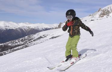 Young Man Skiing in Snow. Ski Center in San Carlos de Bariloche, Patagonia, Argentina.