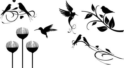木に集まる鳥のシルエット