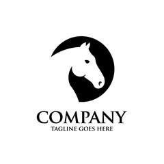 creative circle horse head vector logo design template
