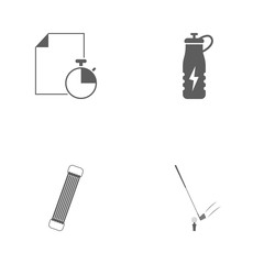 Vector illustration set sport icons. Elements golf, shoulder expander, energy drink and sheet and stopwatch icon