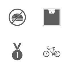 Vector illustration set sport icons. Elements a bike, first place medal, scales and prohibition of fast food icon