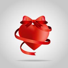 3D Heart with ribbon T-shirt design vector
