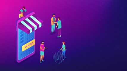 Isometric users with gadgets shopping online. Internet shopping, e-commerce and technology, online marketing and purchase concept. Ultra violet background. Vector 3d isometric illustration.