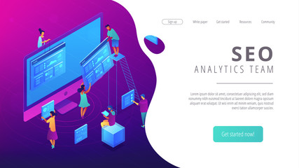 Isometric SEO specialists working with web pages and charts landing page. Seo analysis and optimization, digital marketing strategy concept. Ultra violet background. Vector 3d isometric illustration.