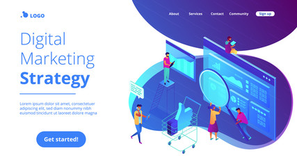 Isometric team of specialists working on digital marketing strategy landing page. Digital marketing, digital technologies concept. Blue violet background. Vector 3d isometric illustration. Wall mural
