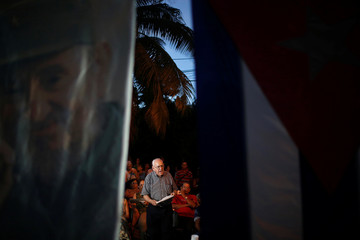 Cuban General Samuel Rodiles Planas speaks during a public political discussion to revamp a Cold War-era constitution in Havana