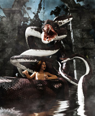 Giant fantasy snake attack a woman,3d Mixed media for book illustration or book cover