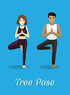 Manga Style Cartoon Yoga Tree Pose
