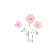 poppy flowers. Element of flower for mobile concept and web apps. Colored poppy flowers can be used for web and mobile