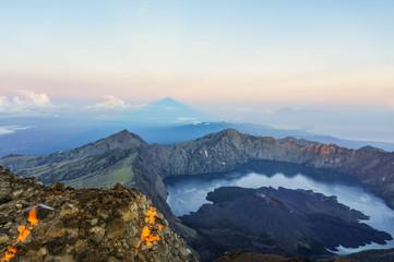 Breathtaking Sunrise from the Summit of Mount Rinjani in Lombok, Indonesia