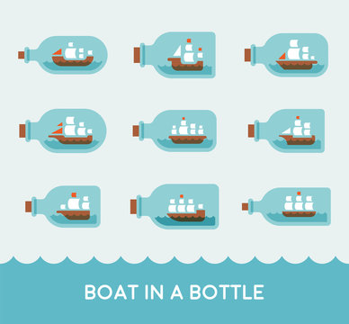 various kind of boat in a bottle flat design style vector graphic illustration set