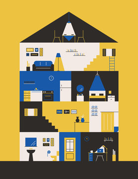 House interior Cross-section flat design style vector graphic illustration set