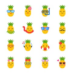 cute pineapple with face in summer beach theme such as swim ring, sun glasses, headphone, Hawaii costume