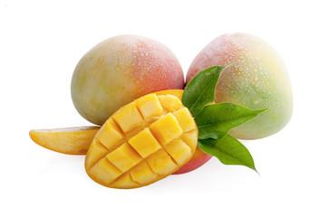 Mango fruit with mango cubes and slices. Isolated on a white background.