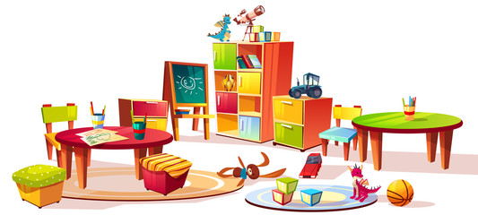 Kindergarten interior furniture vector illustration of preschool kid room drawers for toys, table with pencils for drawing and soft chairs for children game isolated on white cartoon background