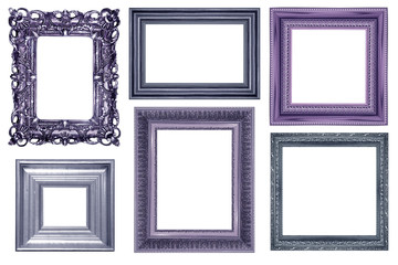 collection of vintage purple and wood picture frame, isolated on white