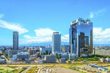Poster de jardin Chicago 青空と大阪の都市風景