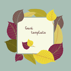 Decorative vector frame with colorful autumn leaves for season design. Silhouettes.