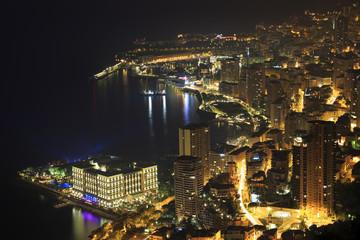 Monte Carlo illuminated at night in Monaco, Europe