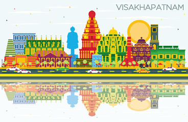 Visakhapatnam India City Skyline with Color Buildings, Blue Sky and Reflections.